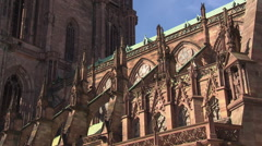 Nave of Strasbourg Cathedral from outside Stock Footage