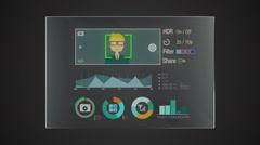 Information technology panel 'Camera' interface digital display application Stock Footage