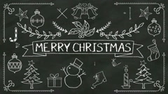 Handwriting 'Merry Christmas' at chalkboard. with various graphic. Stock Footage