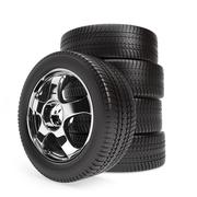 New car wheels with winter tires isolated on white background - stock illustration