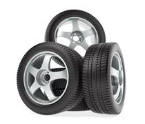 New wheels with winter tires isolated on white background - stock illustration