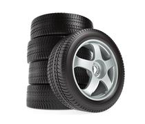 New car wheels with winter tires stacked and isolated on white - stock illustration