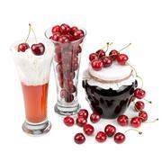 Fresh cherries and cherry desserts Stock Photos