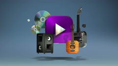 Floating various Music, instrument, download, VOD contents. Stock Footage