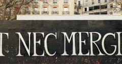 Zoom-out from Fluctuat Nec Mergitur in Place de la Republique, Paris Stock Footage
