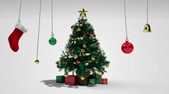 Falling down christmas tree and gifts(included alpha) - stock footage