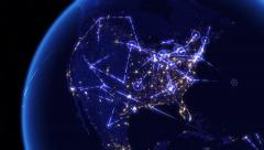 Global communications through the network of connections over North America. - stock footage