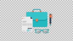 BUSINESS 4 - colored animation flat computer generated icons clips alpha - stock footage