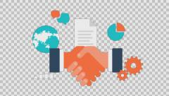 BUSINESS deal - colored animation flat computer generated icons clips alpha Stock Footage