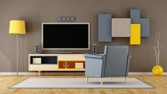 Modern living room room with TV Stock Illustration