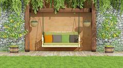 Garden with swing Stock Illustration