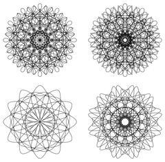 Set of guilloche rosettes Stock Illustration