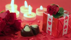 Red roses and chocolate candies for Valentine's Day - stock footage