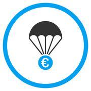 Euro Parachute Circled Icon Piirros