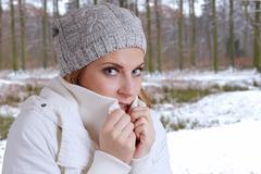 freezing woman - stock photo