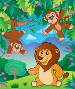 Animals in jungle topic image - eps10 vector illustration. - stock illustration
