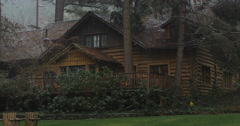 Stock Video Footage of Rustic lodge in the rain near Grants Pass, Oregon