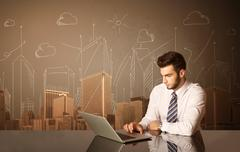 Businessman with buildings and measurements Stock Photos