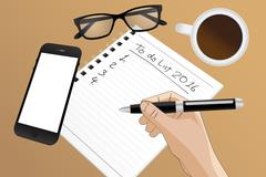 filling out a to do list in 2016 - stock illustration