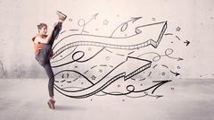 Street dancer with arrows and stars Stock Photos