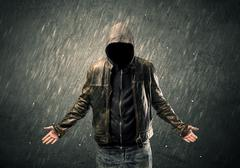 Stock Photo of Spooky faceless guy standing in hoodie