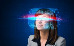 Woman with high tech smart glasses Stock Photos