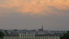 Schönbrunn Palace and Rudolfsheimer Kirche seen at dusk in Vienna Stock Footage