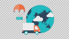 DELIVERY 1 - colored animation flat computer generated icons clips alpha - stock footage