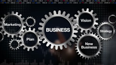 Gear, Plan, marketing, vision, strategy, new business. Businessman 'BUSINESS' Stock Footage