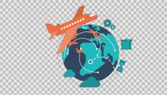 Air Mail- colored animation flat computer generated icons clips alpha - stock footage