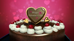 Typo 'Happy Valentines Day' on cake. Stock Footage