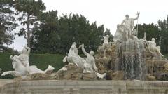 The beautiful Neptunbrunnen fountain at Schönbrunn Palace, Vienna Stock Footage