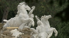White men and horses sculptures at Neptunbrunnen, Schönbrunn Palace, Vienna Stock Footage