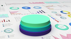 Falling three circle cylinder diagram on economic graph, financial chart. - stock footage
