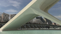 City of Arts and Sciences in Valencia (Museu de les Ciències, Calatrava bridge) Stock Footage