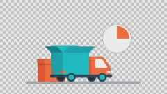 DELIVERY 3 - colored animation flat computer generated icons clips alpha - stock footage