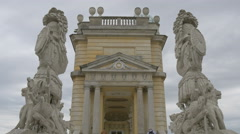 The Gloriette monument with statues, Schönbrunn Palace, Vienna Stock Footage