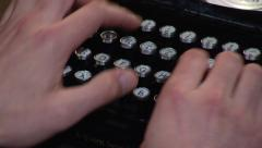 Reenactment_typing on a vintage typewriter Stock Footage