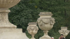 Stone decorations in the imperial garden of Schönbrunn Palace, Vienna Stock Footage