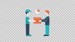 DELIVERY 4 - colored animation flat computer generated icons clips alpha - stock footage