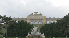 Neptune Fountain and Gloriette in the background, Schönbrunn Palace, Vienna Stock Footage