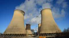 Time lapsetime lapse giant cooling towers drax power station united kingdom Stock Footage