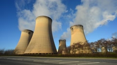 Time lapse giant cooling towers drax power station united kingdom Stock Footage