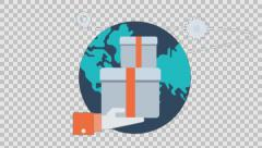 DELIVERY 5 - colored animation flat computer generated icons clips alpha - stock footage