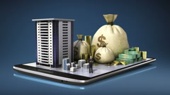 Construction building, cash, money,  loan,on smart phone, pad, mobile. Stock Footage