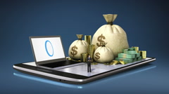 Online banking loan, finances on smart phone, smart pad, mobile.(included alpha) Stock Footage