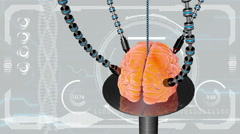 Futuristic robot with tentacles and human brain . concept anatomical future - stock footage