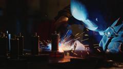 Welding machine factory Stock Footage