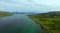 Aerial footage of Sorland on Vesteralen islands in Norway Stock Footage