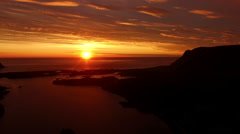 Aerial view of midnight sun in Norway Stock Footage